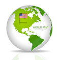 american flag on map vector image vector image