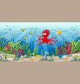 an underwater landscape with animals and plants vector image