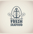 banner for seafood with an anchor rope and words vector image vector image