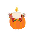 candle in pumpkin vector image vector image