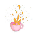 cartoon spash in a pink cup icon drawing splash vector image