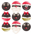 christmas cookies funny santa faces vector image