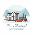 christmas cottage with red car vector image vector image