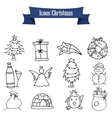 Christmas object icons vector image vector image