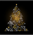 christmas tree silhouette with holiday linear icon vector image
