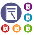 closed spiral notebook and pen icons set vector image vector image