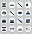 construction icons set with miner pipeline with vector image vector image