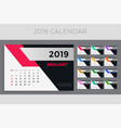 creative 2019 calendar template design vector image
