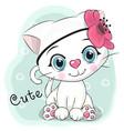 cute cartoon kitten on a blue background vector image