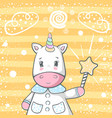 cute magic trik unicorn characters vector image