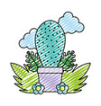doodle ecology plant inside flowerpot and natural vector image vector image