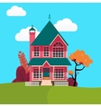 Family House Landscape with Trees vector image