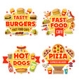 fast food burgers pizza and hot dogs menu dollar vector image vector image