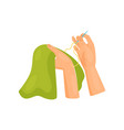 female hands sewing clothes dressmaking and hobby vector image