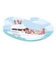 group diverse people relaxing on cruise yacht vector image vector image