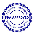 grunge blue fda approved word round rubber seal vector image vector image