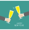 Hand holding champagne glasses with sparkles vector image