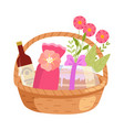 holiday present basket full gifts flowers and vector image vector image