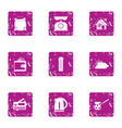 home day icons set grunge style vector image vector image