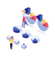 information processing isometric set vector image