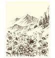 mountain landscape flowers border sketch vector image vector image