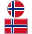 Norwegian round and square icon flag vector image
