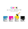 paint cans and brushes concept design vector image vector image
