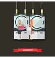 People in self-service laundry poster Room vector image vector image