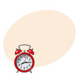 retro style red analog alarm clock sketch vector image vector image