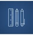 School supplies line icon vector image vector image
