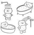 set cat bathing vector image vector image
