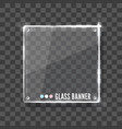 shining glass banner on a grey background vector image vector image