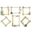 sketch bamboo frame with zen pebble set vector image