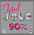 total sale ninety percents unusual font vector image vector image