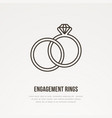 two engagement rings with diamond vector image