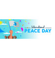 world peace day people parade social media banner vector image vector image