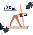 young pretty girl doing yoga at home vector image