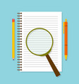 spiral opened notepad with loupe pencil and pen vector image
