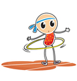 A sketch of a young girl with a hula hoop vector image vector image