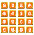 backpack icons set orange square vector image