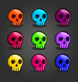big set of cartoon colored skulls vector image vector image