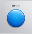 blank blue glossy badge or button 3d render vector image