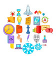 broker icons set cartoon style vector image vector image