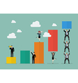 Business teamwork with bar chart vector image