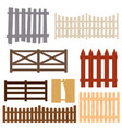 cartoon color wooden fence set vector image vector image