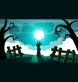 cartoon night landscape zombie vector image