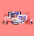 characters watch video courses get online vector image