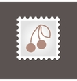 Cherry stamp Outline vector image