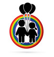 children icon couple icon with balloons vector image vector image