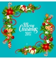 Christmas card with holly and pine garland corner vector image vector image